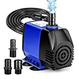 Jhua 780GPH Submersible Water Pump, 60W Submersible Fountain Pump Anti Dry Burning, Ultra Quiet Fountain Pumps Submersible Outdoor 3000L/H, 9.8ft High Lift, 3 Nozzles for Pond, Aquarium, Hydroponics