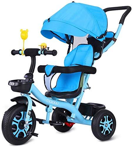 WLD Kinderen Training Voertuig Kinderdriewieler Baby Carriage wandelwagen Balans Fiets Licht Fiets met Handvat met Luifel Veiligheid Omheining Achterwiel Remmen Baby Verjaardag Aanwezig Blauw