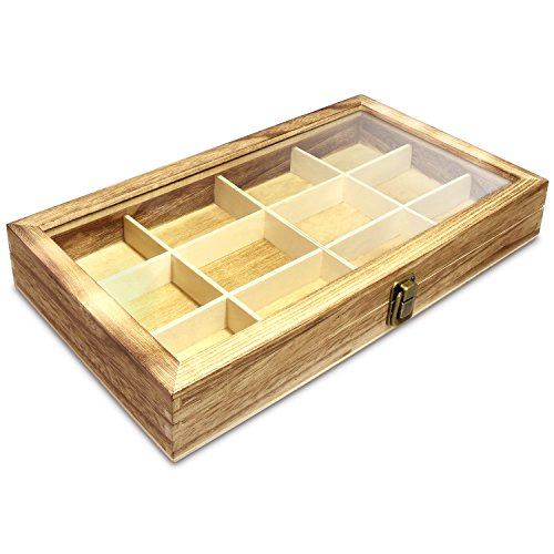 """Ikee Design Wooden Jewelry Storage Tray Box with a Glass Lid, Wood Collection Gems Stone Display Organizer Total 12 Compartments, 15""""W x 8 1/2""""D x 2 1/8""""H"""