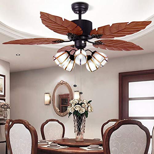 52'' Tropical Ceiling Fan with Remote Palm Wooden Leaf Ceiling Fan with 5 Glass Lampshade and Hand-Carved Reversible Blades for Indoor/Outdoor Living Room Bedroom Kitchen by Arkonfire
