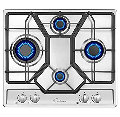 Empava 24 Inch Gas Cooktop Professional 4 Italy Sabaf Burners Stove Top Certified with Thermocouple Protection in Stainless Steel, Silver