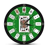 The Geeky Days Spade Playing Cards Texas Hold 'em Inspired Modern Wall Clock Poker Bridge Wall Watch Casino Game Room Wall Decor Gambler Gift