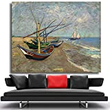 N / A The Fishing Boat on The Beach Printed The Wall Art Decoration Oil Painting on The Mural Picture on The Canvas Frameless 24X32 cm