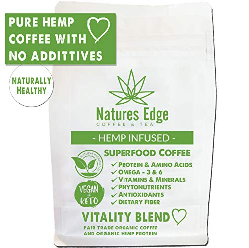 Natures Edge Vitality Blend - Medium Roast Hemp Coffee Ground with Antioxidants, Minerals, Fiber and Heart-Healthy Unsaturated Fats - 12oz