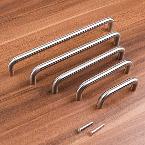 Möbelgriffe ECHT EDELSTAHL | Bügelgriff, massiv, gebürstet | Ø 10 mm | 128 mm BA
