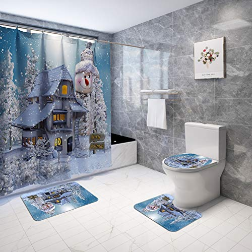 ARTIFUN Christmas Bathroom Decorations Sets with Rugs Toilet Seat Cover Rug Shower Curtain Sets White Snowman Snow Bathroom Decor