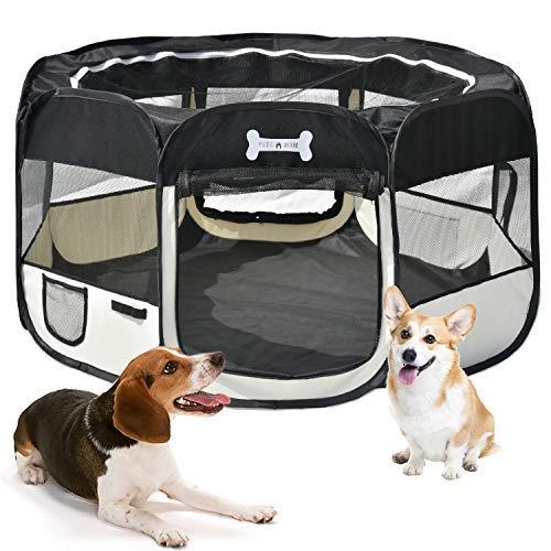 MC Star Oxford Pieghevole Box per Cani Impermeabile Grande Recinto per Animali, Cuccioli, Cane, Gatti, Porcellini d'India, per Interno o Esterno,125 x 64 cm(Nero)
