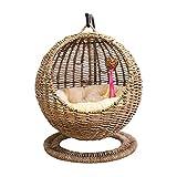 Layla Beauty Store Gato Cesta Colgante Redonda Gato Nido Nido Estaba Apertura semicerrado con el Gato Gato colchón de la Cama Cesta Colgante casero Lavable universales,Natural