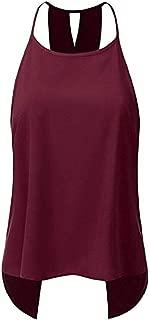 S-Fly Women's Sleeveless Sexy Cross Back Blouse Shirts Open Back Tank Tops T-Shirts