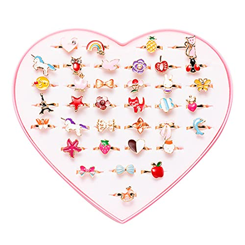 36 pcs Little Girls Adjustable Rings, Princess Jewelry Finger Rings with Heart Shape Box, Girl Pretend Play and Dress up Rings for Children Kids - Random Style …