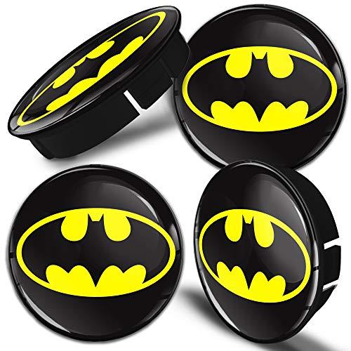 Biomar Labs® 4 x 60mm Coprimozzi Copricerchi Tappi Ruote Auto Logo Stemma Batman C 004