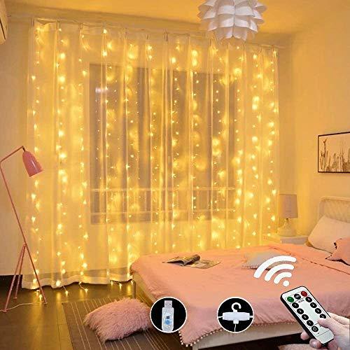 LED Lichtervorhang 3x3M, 300 LEDs USB Lichterketten Vorhang mit Fernbedienung, 8 Modi & Timer, IP44 Wasserdicht für Innen und Außen Deko, Schlafzimmer, Weihnachten Party, Warmweiß