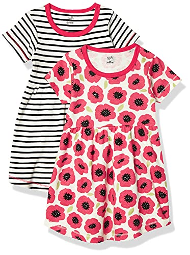 Touched by Nature Girls, Toddler, Baby and Womens Organic Cotton Short-Sleeve and Long-Sleeve Dresses, Poppy Short Sleeve, 14 Years