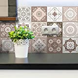 15 Stickers muraux Cuisine - Sticker Mural - Carreaux de Ciment adhésif Mural - Stickers Muraux azulejos - Sticker Carrelage adhesif Mural Salle de Bain 20 x 20 cm - 15 PCS Carreau de Ciment adhesif