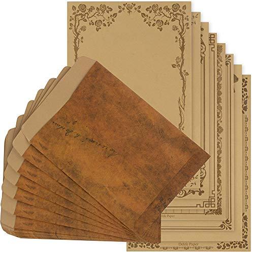 レターセット 封筒 30枚 便箋 48枚 アンティーク シンプル メッセージカード 封筒付 メッセージを大切な人へ 感謝祭(72)