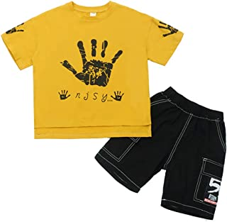 Boys Sports Casual Palm Printed Tracksuits Shirt + Middle Pants