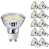 Yafido GU10 Bombillas LED 5W GU 10 Blanco Cálido 3000K AC 220V Equivalente a 50 Watt Lámpara Halógena Spot Luz Foco Ojo de Buey 400LM No Regulable Pack de 10