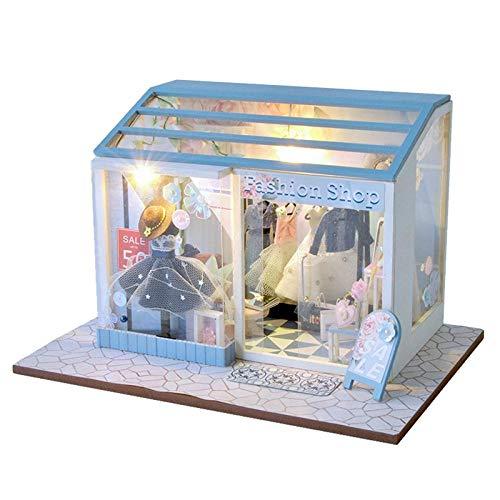 erhumama Muebles de casa de muñecas Kits de Luces LED Ropa de Moda en Miniatura Tienda 3D Muñecas de Madera Casa Rompecabezas Modelo de construcción Día de San Valentín