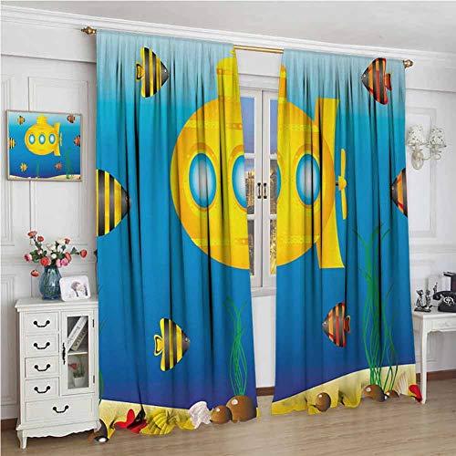 wonderr doek gordijnen, isolerende kamer donker verduistering Drapes voor slaapkamer, gele duikboot, Aqua patroon met weinig vis leuk zeevruchten periscoop oceaan thema, Aqua geel