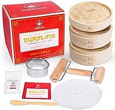 Dumpling Steamer Set DIY Kit! Dumpling Maker Set w/Bamboo Steamer Basket, Steamer Liner, Dumpling Cutter, Agar, Roller, Spoon and Recipes. Make Your Own Dumplings, Dim Sum and Chinese Steamer Food.