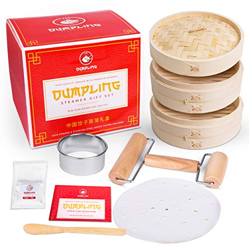 Dumpling Steamer Set DIY Chinese Soup Dumpling Kit! w/Bamboo Steamer Basket, Steamer Liner, Dumpling Cutter, Agar, Roller, Spoon and Recipes. Make Your Own Dumplings, Dim Sum and Chinese Steamer Food