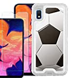 for Samsung Galaxy A10e Phone Case, 3-Layer Hybrid Bumper Protective Case (Clear) with Tempered Glass Screen Protector, by One Tough Shield - Soccer