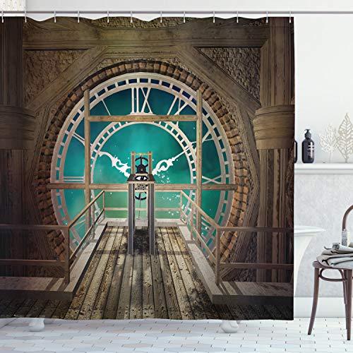 ABAKUHAUS Steampunk Duschvorhang, Fantasy-Uhrturm, mit 12 Ringe Set Wasserdicht Stielvoll Modern Farbfest & Schimmel Resistent, 175x240 cm, Hellbraun Türkis
