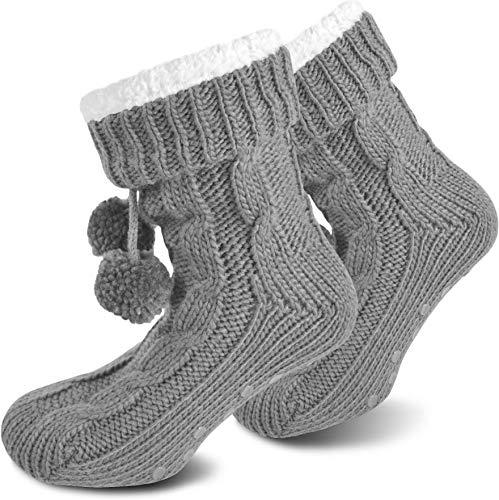 normani Damen Hausschuhe - Flauschig warme Hausschuhe mit ABS Sohle Farbe Grau Größe 36/40