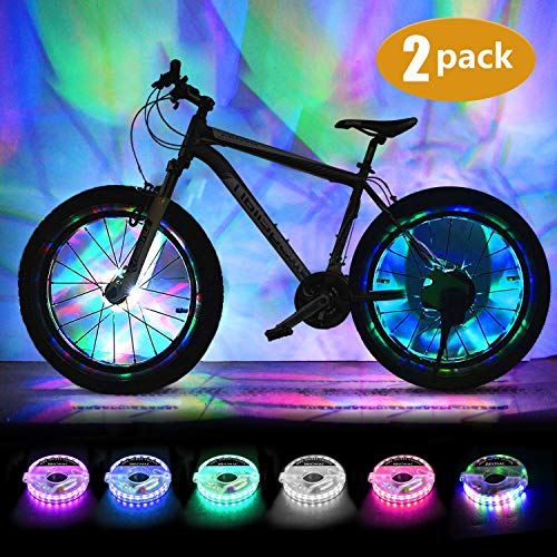 2 Tire Pack Waterproof Tire Lights LED Bike Wheel Lights Very Bright Tire Lights for Kids and Adults Perfect for Safety and Fun