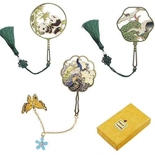 Segnalibro in metallo con pavone, gru e panda, classico segnalibro in metallo, ottimo regalo per lettori, donne e bambini.