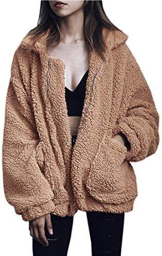 YYW Women Fuzzy Sherpa Jacket Winter Casual Warm Fluffy Shearling Fleece Coat Oversized Zipper Faux Shaggy Jackets Outwear