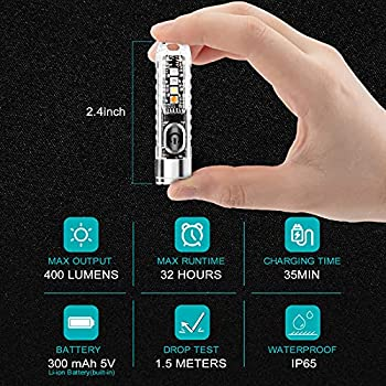 FreeLionVon S11 Petit Mini Puissant Porte-clés Lampe de Poche LED Type-C Lampes de Poche Rechargeables IP65 Étanche Multi Fonction pour Urgence Convient pour la marche, la recherche, la randonnée.