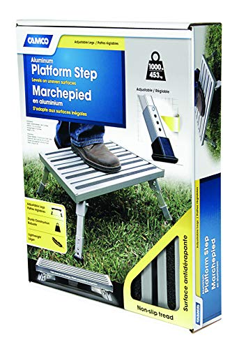 Camco Adjustable Height Aluminum Platform Step- Supports Up to 1,000 lb., Includes Non-Slip Rubber Feet, Durable Construction, Easy to Store and Transport - (43676)