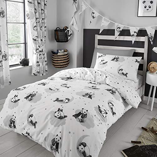 Happy Linen Company Girls Boys Kids Cute Panda White Monochrome Single Reversible Duvet Cover Bedding Set