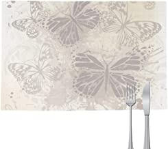 DIYthinker Elegant Vintage Grey Butterfly Wallpaper Placemat Pad Kitchen Woven Heat Resistant Cushion Rectangle