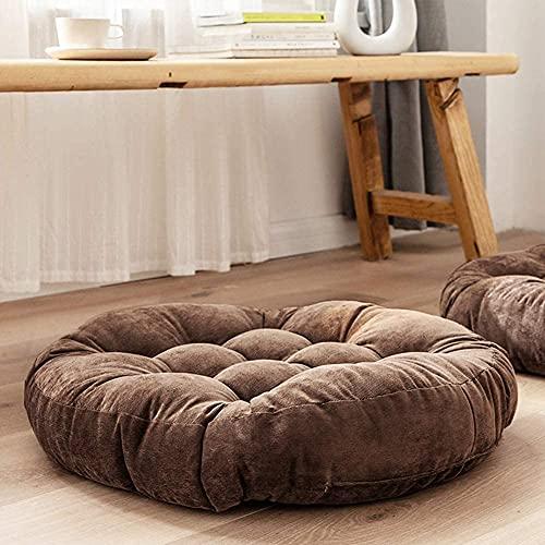 Almohada de suelo, cuadrada para sentar en el suelo, cojín de meditación para cojín de asiento sólido grueso para yoga, sala de estar, sofá, balcón al aire libre, 50 x 55 cm (redondo-café)