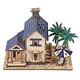 YOUTHINK Rompecabezas de Madera en 3D, Modelo de casa de construcción de Villas, Rompecabezas de Juguete, Rompecabezas tridimensionales de casa de Playa para niños, Juguetes educativos para niños