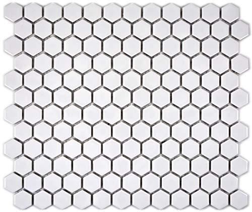 Mozaïek tegel keramiek Hexagon wit glanzend tegelspiegel keuken MOS11A-0102_f | 10 mozaïekmatten