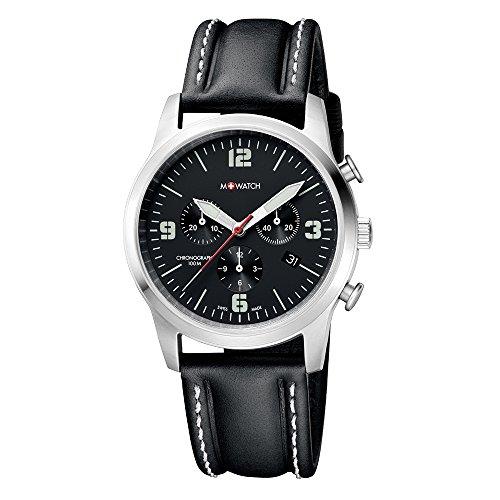 M WATCH Swiss Made Aero Orologio da uomo, Cronografo con datario, Lancette luminose, Cinturino in pelle nera con cuciture a contrasto