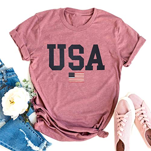 USA Flag Tee Shirt for Women 4th of July Memorial Day Gift T Shirt Casual Short Sleeve American Proud T-Shirt Tops (Pink, Large)