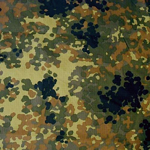 TOLKO Bundeswehr Camouflage Stoff aus Ripstop Nylon | dünn wie Futterstoff | Farbecht Reißfest UV-beständig | Popeline Tarnstoff Armee Flecktarn Meterware 150cm breit (Bundeswehr Fallschirm)