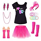 PAXCOO 80s Costumes for Women, 80s Accessories for Women with I Love The 80s T-Shirt Tutu Skirt Headband Necklace Bracelet Leg Warmers Earrings Fishnet Gloves for Party Accessory (XL Size) Rose Red