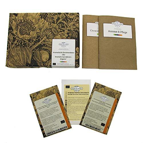 Aromatische Sonnenanbeter (Bio) - Samen-Geschenkset mit Tomate, Paprika & Aubergine für Balkon & Garten