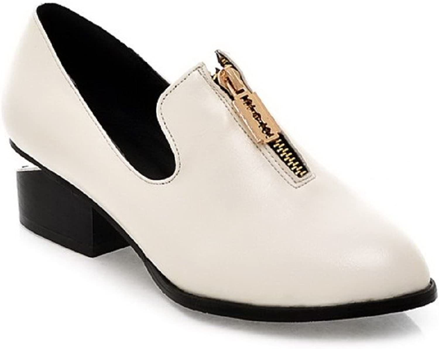 AmoonyFashion Women's PU Low-Heels Pointed Closed Toe Solid Zipper Pumps-shoes