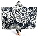 Winter Hooded Throw Blanket for Women, Sugar Skull with Floral Halloween Fluffy Blanket Warm Antifading Covers for Chair Reading A Book, Ptonuic