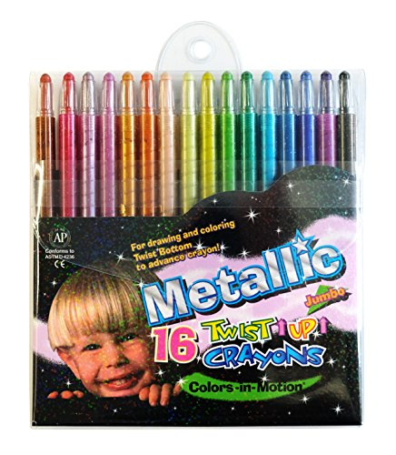 Colors-in-Motion 16 Metallic Twist-up Crayons, Colored Pencils, Kids Crayon, Adult Coloring, Professional Drawing (7 in Length)
