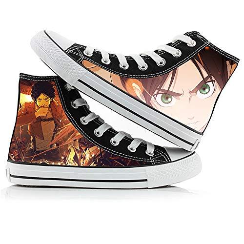 JPTYJ Attack On Titan Eren Jaeger Zapatos Altos Unisex Zapatos Casuales de Anime Zapatos de Lona para Estudiantes Zapatillas de Deporte de la Escuela Secundaria C-42