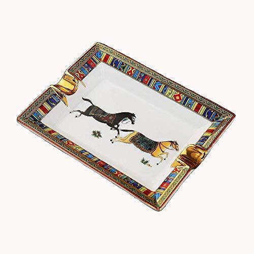 Patrón de la decoración del hogar Cenicero de cerámica caballo Cigarrillos cenicero del cigarro con estilo europeo de mesa Cenicero for fumadores, pintado a mano de porcelana de escritorio fumadores C