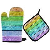 Plancha de madera Arco Iris Mitón para horno y soporte para ollas Juego de guantes de cocina resistentes al calor para cocinar, hornear, asar, barbacoa
