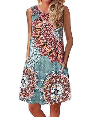 YOINS Sexy Kleider Damen Kurzarm leinenkleid Damen Sommer V-Ausschnitt Strandkleider Blumen Blusenkleid Knielang Sommerkleider für Damen Grün L